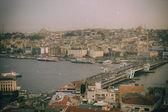 Retro style photo of Istanbul skyline — Stock Photo