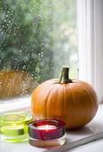 Pumpkin on the windowsill — Stock Photo