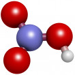 Nitric acid (HNO3) molecule, chemical structure. HNO3 is a stron - Stock Photo