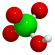 Perchloric acid (HClO4) molecule, chemical structure. HClO4 is a - Stock Photo