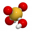 Sulfuric acid (H2SO4, oil of vitriol) molecule, chemical structu — Stock Photo
