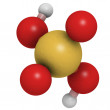 Sulfuric acid (H2SO4, oil of vitriol) molecule, chemical structu - Stock Photo