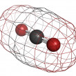 Carbon dioxide (CO2) , molecular model — Stock Photo