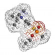 VX nerve agent, molecular model. VX is a chemical weapon, classi — Foto Stock