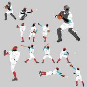 棒球行动发挥首页运行大量的姿势和位置的行动 — 图库矢量图片