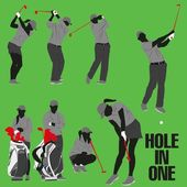 Lots of golf style action collection — Stock Vector