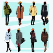 London fashion street model fall with lots of clothes and fashion — Stock Vector