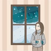 Xmas girl starring at through the window looking at the snow falling from the sky at night christmas — Stock Vector