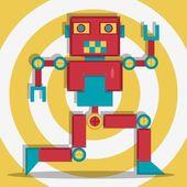 Retro Robot 1 The Dacer — Stock Vector