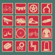 Bicycle classical icon set - Image vectorielle