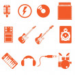Stock Vector: Band play icon music with nice orange color style