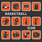 Basketbal mooie icon en pictogram complete collectie instellen — Stockvector