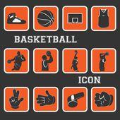 Basketball fein ikone und piktogramm komplette sammlung set — Stockvektor