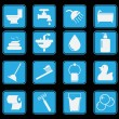 Stock Vector: Bathroom icon set basic