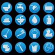 Bathroom icon set with gradient style — Stock Vector
