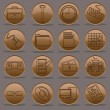 Office work nine to five icon set gradient emboss line — Imagen vectorial