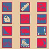 Extreme sport klassieke pictogrammenset — Stockvector