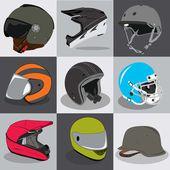 あなたの頭に乗って飛ぶスポーツのヘルメット コレクション — ストックベクタ