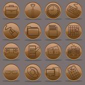 Büro arbeiten 04:51 symbolsatz farbverlauf emboss linie — Stockvektor
