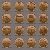 Office work nine to five icon set gradient emboss line — Stok Vektör