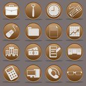 Travail de bureau neuf à cinq icône définir gradient emboss — Vecteur