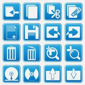 Personal Computer Blue Icon Set — Stock Vector