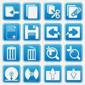 Conjunto de iconos azules de computadora personal — Vector de stock
