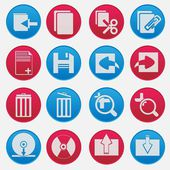 Personal Computer Red And Blue Icon Set — Stock Vector