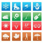 Season weather icon glossy style — Stock Vector