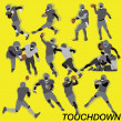 Touchdown american football super bowl style with many action and position - Stock Vector