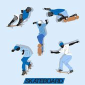 Lots of skateboard action with blue style color — Stock Vector