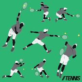 Lots of tennis player do some action and hit the ball — Stock Vector
