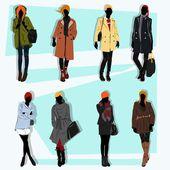 Londyn ulica modelka spadnie z dużą ilością ubrania i moda — Wektor stockowy
