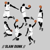 Slam dunk collection with cool six pose — Stock Vector