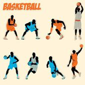 Lots of basketball action do some shooting dribbling defense offense jump slam dunk — Stock Vector