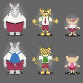 Cartoon character Rhino, Tiger, and Tarsius — Stock Vector