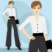 Young and pretty career woman wearing white blouse — Stock Vector