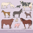 Farm Animals Vector Set — Stockvectorbeeld