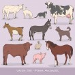 Farm Animals Vector Set — ストックベクタ