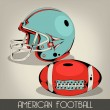 Blue American Football Helmet — Stock Vector