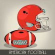 Stok Vektör: Red American Football Helmet