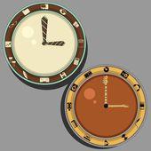Reloj para la oficina y músico — Vector de stock
