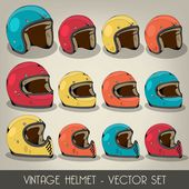 Vintage Helmet Vector Set — Stock Vector