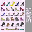 30 kvinnor skor vektor set — Stockvektor