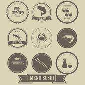 Menu Sushi Label Design — Stock Vector