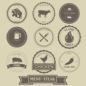 Menu Steak Label Design — Stock Vector