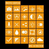 Photo Editor Icon Set — Stock Vector