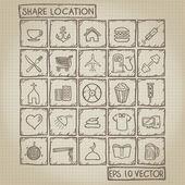 ícone local compartilhado doodle conjunto — Vetor de Stock