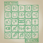 Music Player Icon Doodle Set — Stock Vector