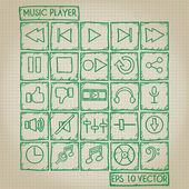 Musik-player-symbol doodle set — Stockvektor